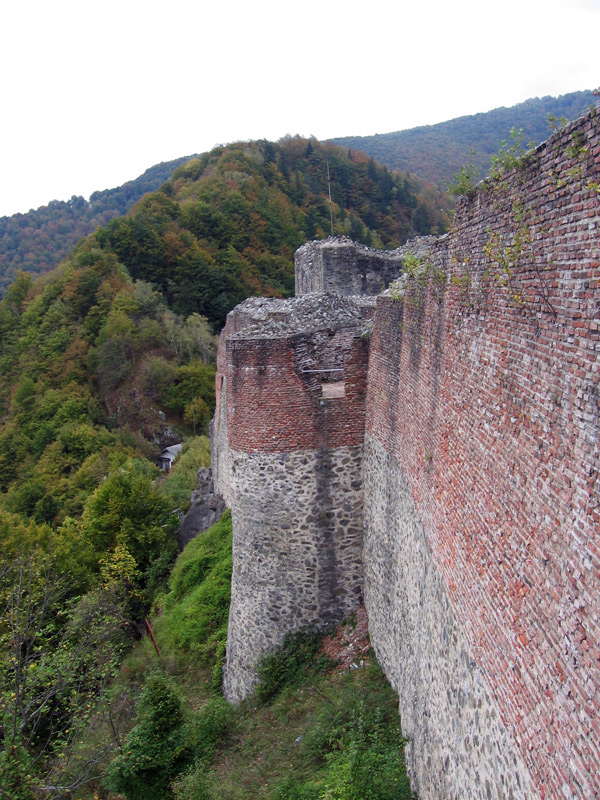 A view of the southern wall of Cetatea Poenari, aka the real Dracula's castle, near Arefu, in Transylvania, Romania.