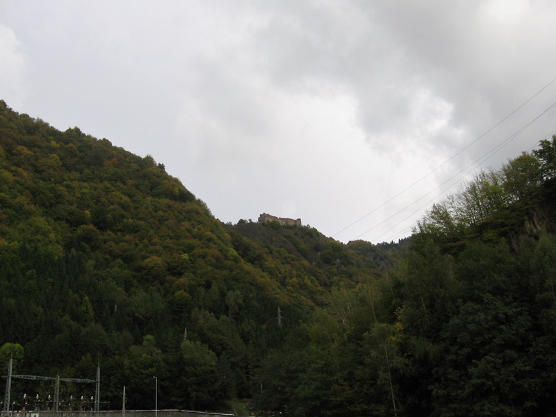 My first view of Castle Poenari, the real Dracula's castle, near Arefu, in the Transylvania region of Romania.