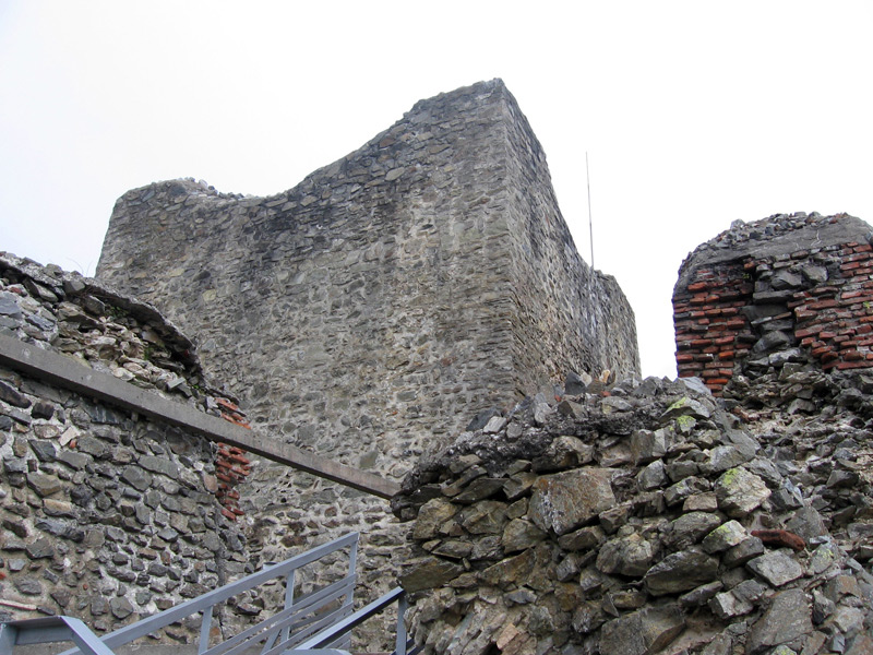 A view of the tower of Castle Poenari from below on the stairway.