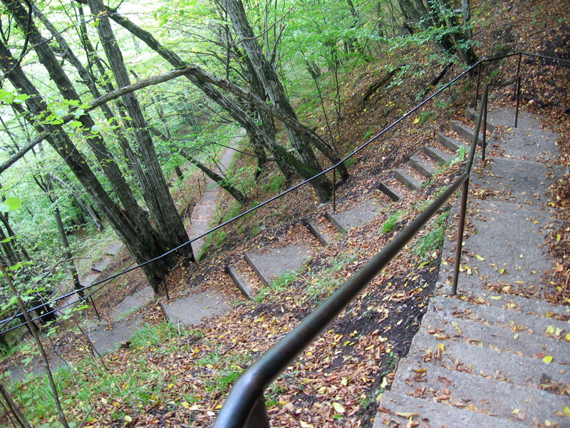 The infamous 1500 stairs leading up the mountain to Castle Poenari, the original Dracula's castle.