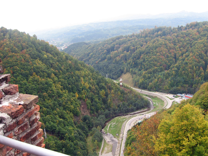 Another view of the Arefu Valley from within the walls of Cetatea Poenari, in Romania.