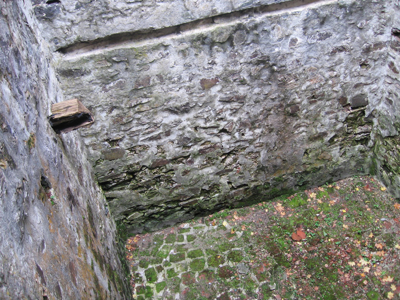 A look down into the space below the tower in Cetatea Poenari, the real Dracula's castle, near Arefu, in Transylvania.