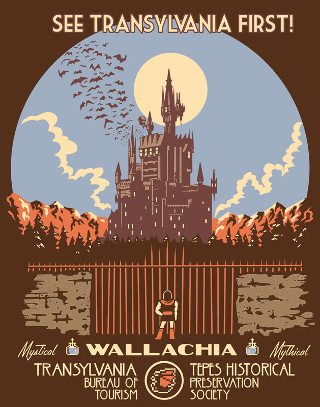 See Transylvania First! Mystical, mythical Wallachia. Tepes historical preservation society. Castlevania parody poster.