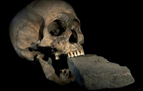 The Vampire of Venice - skull of a supposed vampire with a brick forced between its jaws